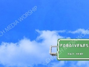 Road sign right Forgiveness Christian Worship Background. High quality worship images for use to spread the Gospel and enhance the worship experience.