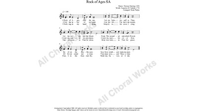 Rock of Ages Female Choir Sheet Music SA 2-part Make unlimited copies of sheet music and the practice music.