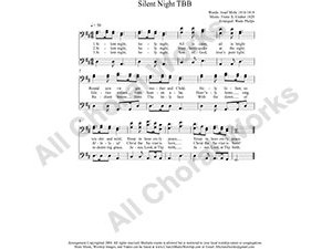 Silent Night Male Choir Sheet Music TBB 3-part Make unlimited copies of sheet music and the practice music.