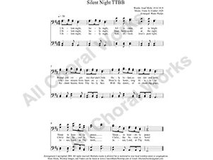 Silent Night Male Choir Sheet Music TTBB 4-part Make unlimited copies of sheet music and the practice music.
