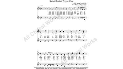 Sweet Hour of Prayer Female Choir Sheet Music SSA 3-part Make unlimited copies of sheet music and the practice music.