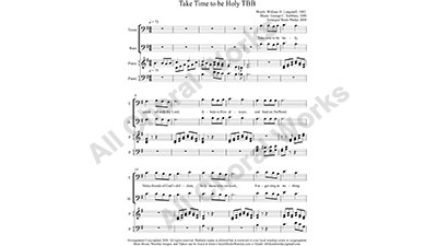 Take Time to be Holy with Piano Male Choir Sheet Music TBB 3-part Make unlimited copies of sheet music and the practice music.