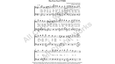 The First Noel Male Choir Sheet Music TTBB 4-part Make unlimited copies of sheet music and the practice music.