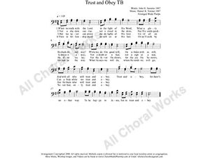 Trust and Obey Male Choir Sheet Music TB 2-part Make unlimited copies of sheet music and the practice music.