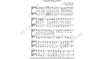 Under His Wings Female Choir Sheet Music SSAA 4-part Make unlimited copies of sheet music and the practice music.