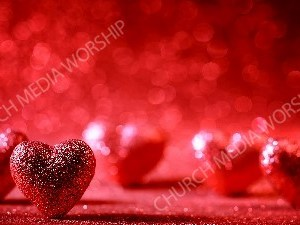 Valentines Glitter Hearts red bokeh Christian Worship Background. High quality worship images for use to spread the Gospel and enhance the worship experience.