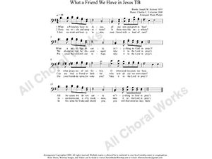 What A Friend We Have in Jesus Male Choir Sheet Music TB 2-part Make unlimited copies of sheet music and the practice music.