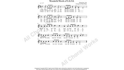Wonderful Words of Life Female Choir Sheet Music SA 2-part Make unlimited copies of sheet music and the practice music.