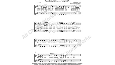 Wonderful Words of Life Female Choir Sheet Music SSA 3-part Make unlimited copies of sheet music and the practice music.