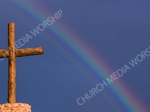 Wood Cross rainbow blue sky Christian Worship Background. High quality worship images for use to spread the Gospel and enhance the worship experience.
