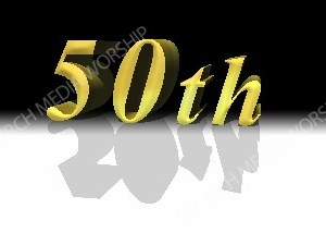 50th Gold anniversary Christian Worship Image. High quality worship images for use to spread the Gospel and enhance the worship experience.