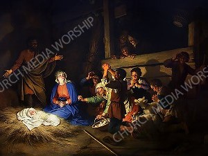 Adoration of the Shepherds Dietrich Christian Worship Image. High quality worship images for use to spread the Gospel and enhance the worship experience.