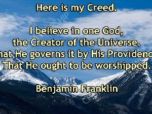 Benjamin Franklin quote V1 Christian Worship Image. High quality worship images for use to spread the Gospel and enhance the worship experience.