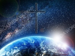 Jesus overlooking the World cross clear Christian Worship Image. High quality worship images for use to spread the Gospel and enhance the worship experience.