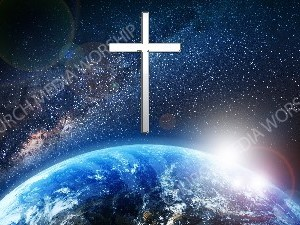 Jesus overlooking the World cross white Christian Worship Image. High quality worship images for use to spread the Gospel and enhance the worship experience.