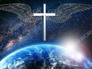 Jesus overlooking the World cross white with wings Christian Worship Image. High quality worship images for use to spread the Gospel and enhance the worship experience.