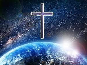 Jesus overlooking the World purple cross Christian Worship Image. High quality worship images for use to spread the Gospel and enhance the worship experience.