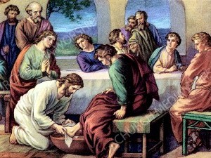 Jesus washes the feet Christian Worship Image. High quality worship images for use to spread the Gospel and enhance the worship experience.