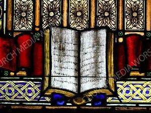 Bible stained glass Christian Worship Image. High quality worship images for use to spread the Gospel and enhance the worship experience.