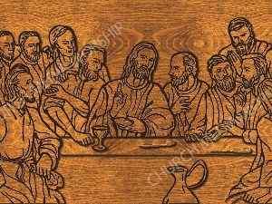 Last Supper Silhouette wood Christian Worship Image. High quality worship images for use to spread the Gospel and enhance the worship experience.