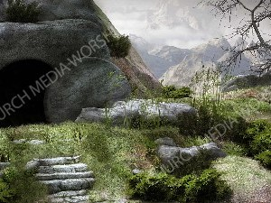 Stone rolled away V3 Christian Worship Image. High quality worship images for use to spread the Gospel and enhance the worship experience.