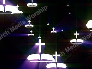 Bible Cross Purple Christian Worship Loop Video Perfectly timed for no glitches in 1080P HD. Room for lyrics