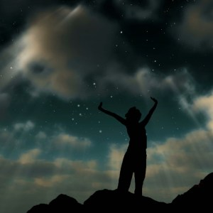 Woman on mountain side Night Sky Christian Worship Loop Video Perfectly timed for no glitches in 1080P HD. Room for lyrics