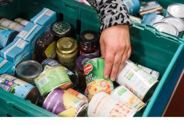 crate of food at foodbank