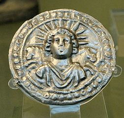 Leaf disc dedicated to Sol Invictus (Roman sun god thought to be born on 25 December)Photo by Jastrow under CCA-SA