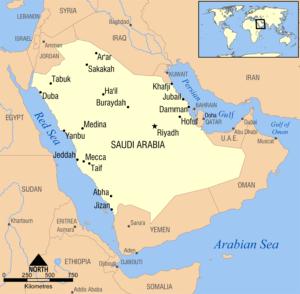 Simple map of Saudi Arabiaby GNU via Wikiemedia Commons under CCA-SA
