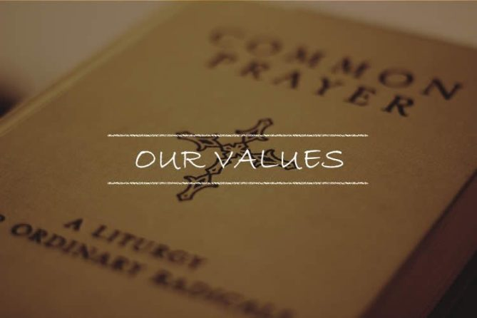 Link to Our Values page. Picture of Common Prayer book.