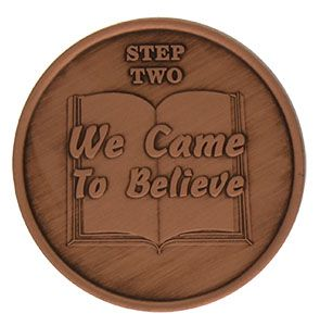 Step Two We Came to Believe  AA Recovery Copper Coin