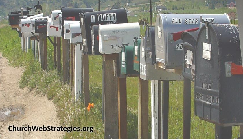 Line of mailboxes along dirt road