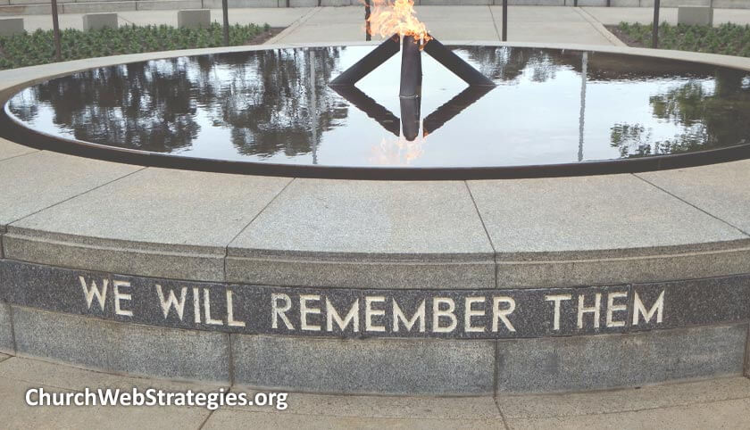 "Memorial fountain that says ""We will remember them"""