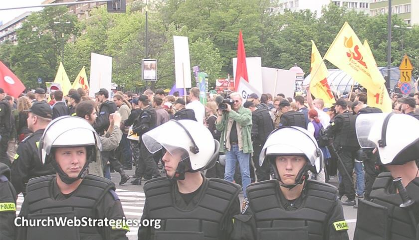 police protecting during a demonstration march