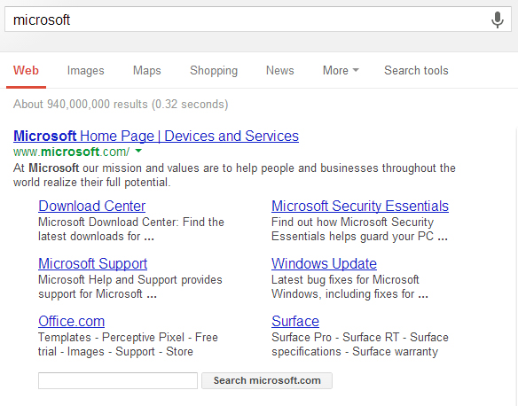 Google search of Microsoft