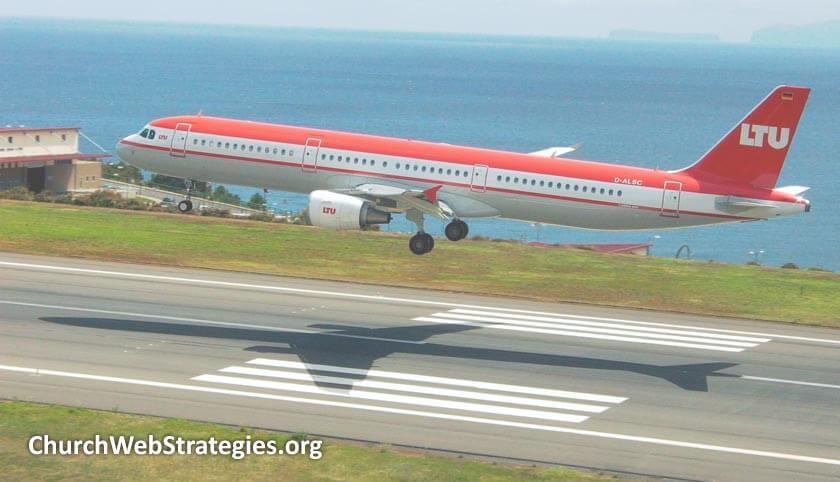 Jet landing on runway