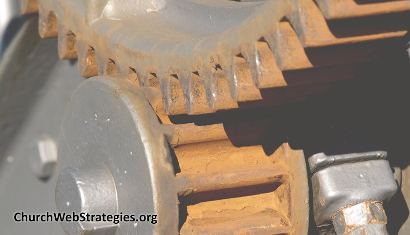 close-up of rusted gears