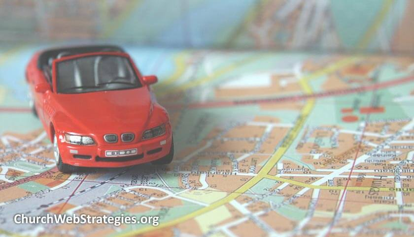 toy car on a paper map