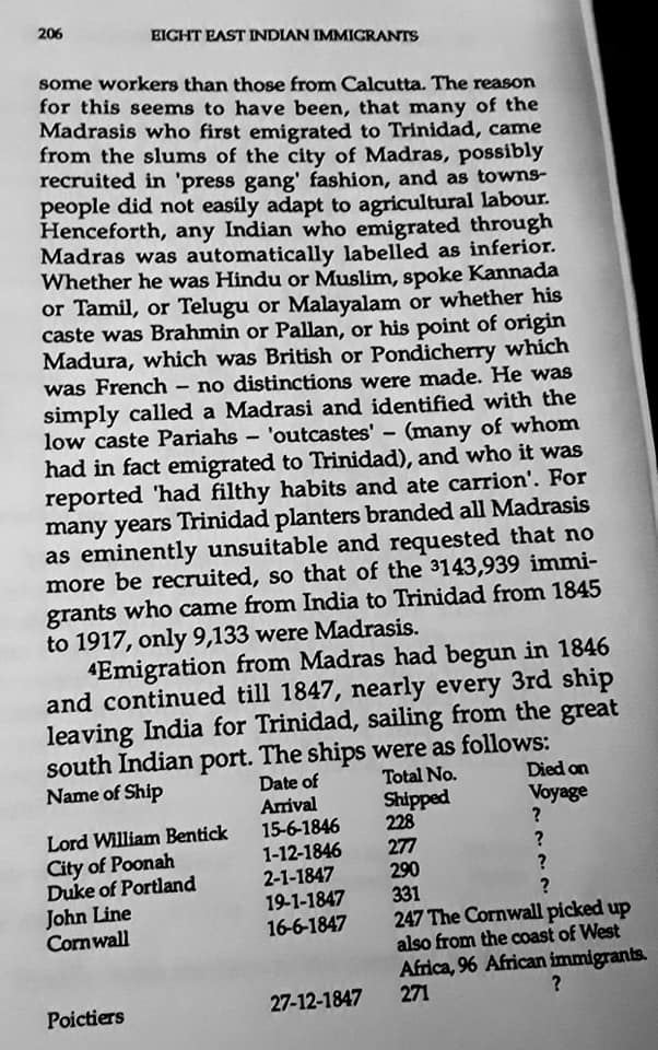 Migration Of The Madrassi Indians To Trinidad 206