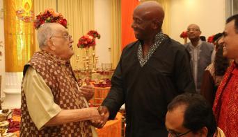 Prime Minister Dr The Honourable Keith Rowley Greets Secretary General Of The Sanatan Dharma Maha Sabha, Sat Maharaj
