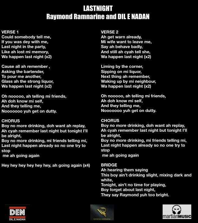 Raymond Ramnarine Dilenadan Last Night Lyrics