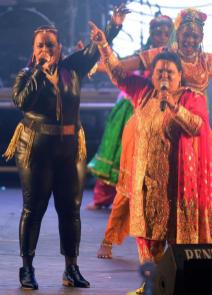 Traditional Chutney Singer, Hemlata Dindial, And Her Sister rasika Dindia During Their Performance At The Finals Of The Soca Chutney Monarch