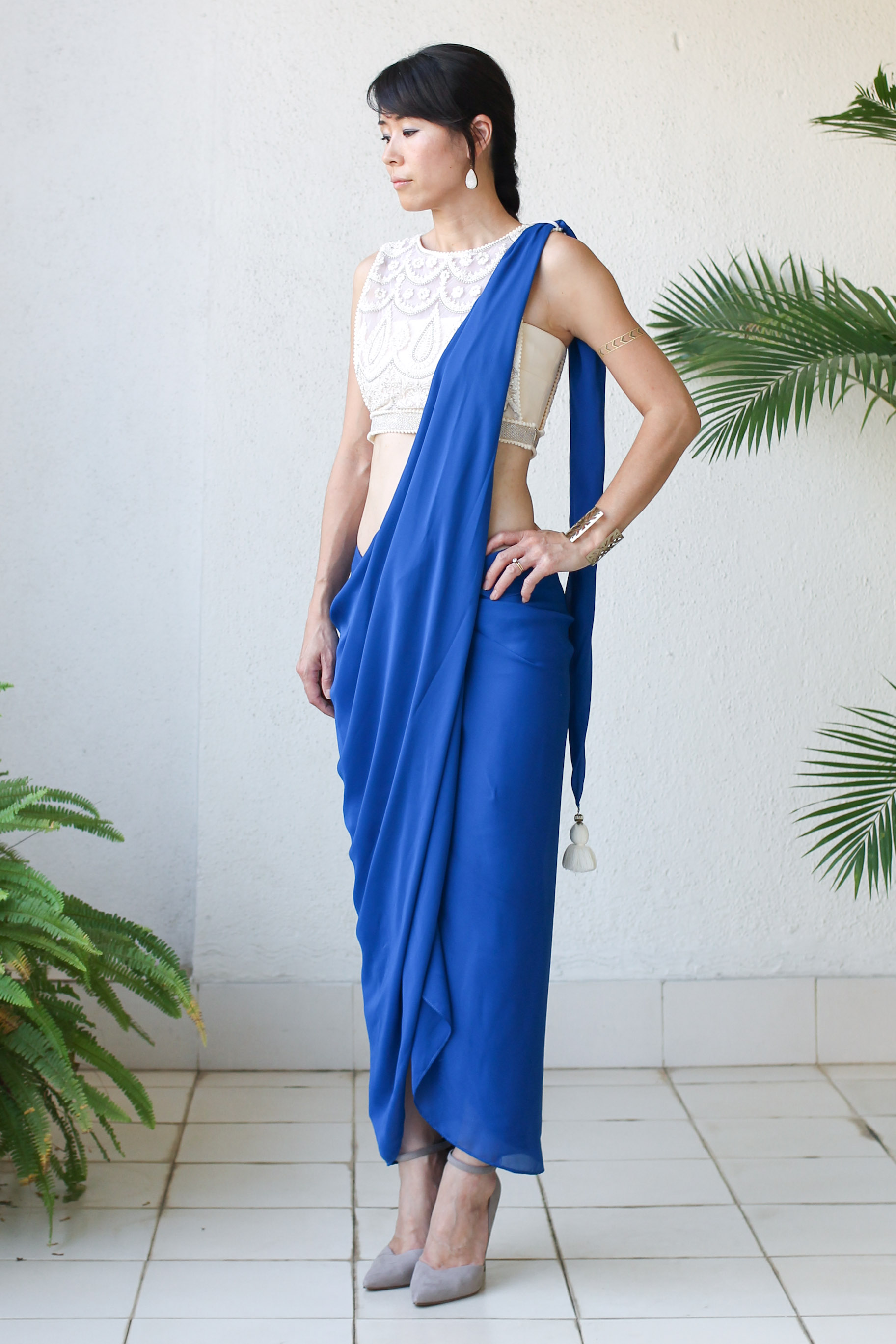 Micky Tan Blue Sari Dress-7