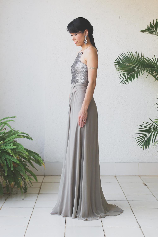 Micky Tan Grey Sequin Chiffon Dress-2