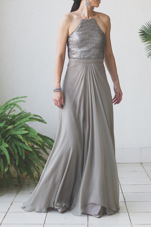 Micky Tan Grey Sequin Chiffon Dress-9