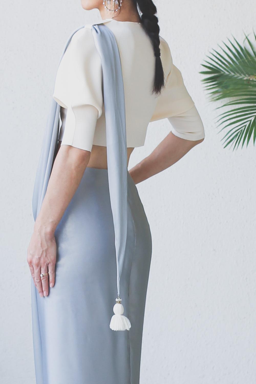 Micky Tan Cream & Grey Sari Dress-11
