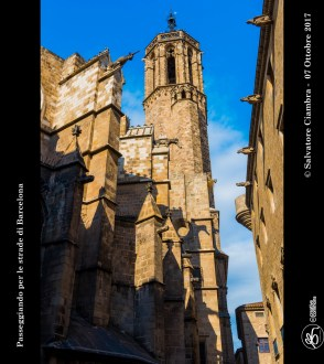 La cattedrale della Santa Croce e Sant'Eulalia (in catalano: catedral de la Santa Creu i Santa Eulàlia), situata nel Barri Gòtic (quartiere gotico), è la cattedrale-sede dell'archidiocesi di Barcellona. Insignita nel 1867 del titolo di basilica minore[1], dal 2 novembre 1929 è Monumento Storico - Artistico spagnolo. La cattedrale è dedicata alla Santa Creu (la Santa Croce) e a santa Eulalia, la patrona di Barcellona (12 febbraio), la quale subì il martirio in epoca romana. La leggenda dice che fu esposta nuda fino a quando, a metà primavera, cadde la neve per coprirne il corpo; le autorità di allora, la misero in una botte chiodata e la fecero rotolare per una stradina che adesso si chiama Baixada de Santa Eulàlia.
