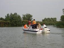 Con la barca a motore nel Delta del Danubio