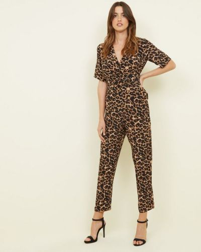brown-leopard-print-revere-collar-wrap-jumpsuit-